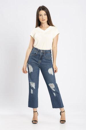 Calca jeans cropped bigode