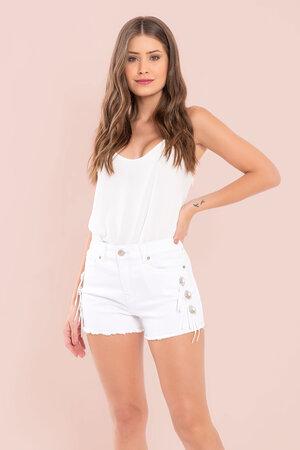 Shorts sarja cintura alta