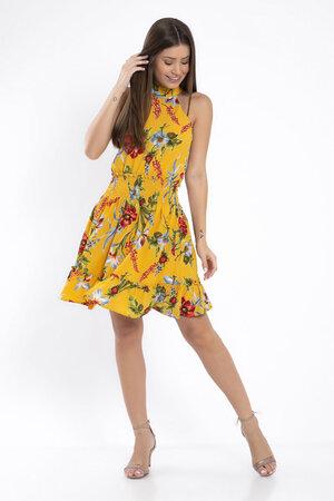Vestido floral lastex na cintura