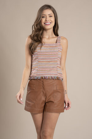 Blusa tweed alca regulavel ziper lateral