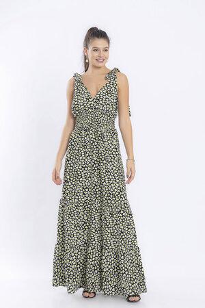 Vestido longo estampado lastex alca e faixa