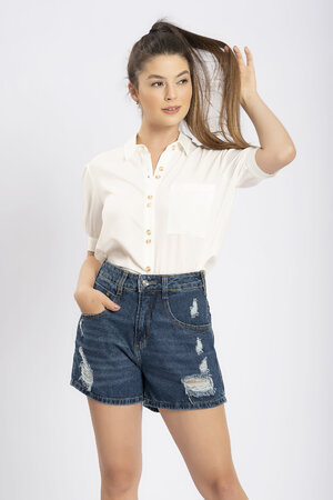 Shorts jeans puidos