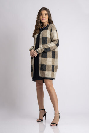 Maxxi coat tricot estampa geométrica