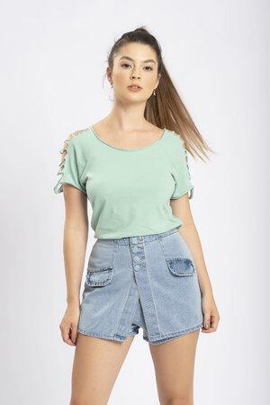 Shorts saia jeans botoes encapados