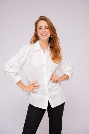 Camisa algodao manga longa detalhe franzido