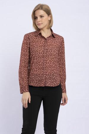 Camisa manga longa em crepe de chine constelacao