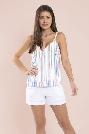 Blusa listra bordado coloido alca larga