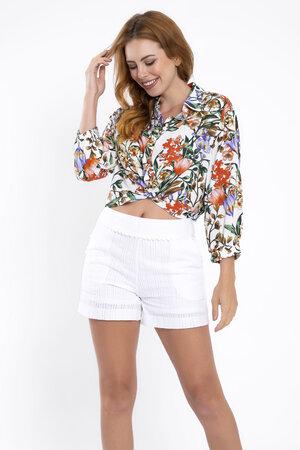 Camisa manga 3/4 estampa floral