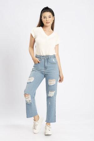Calca jeans cropped bigode giletada