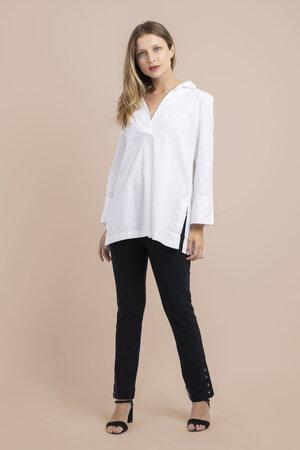 Camisa manga 7/8 ampla em tricoline