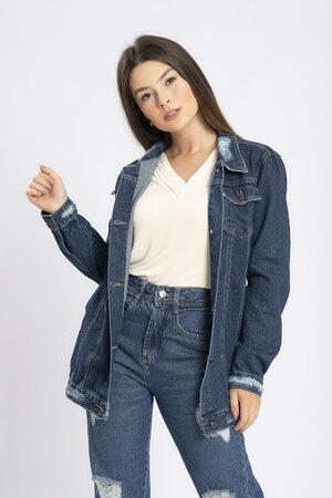 Maxi jaqueta jeans escura