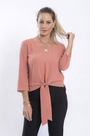 Blusa lisa decote ve com laco
