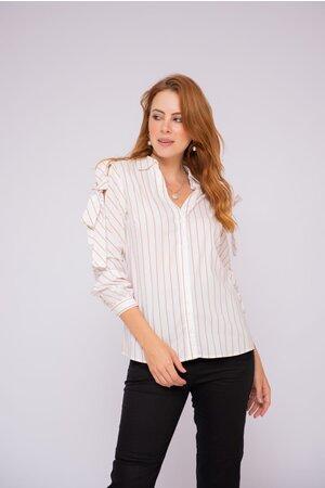Camisa listras algodao recortes e amarracao