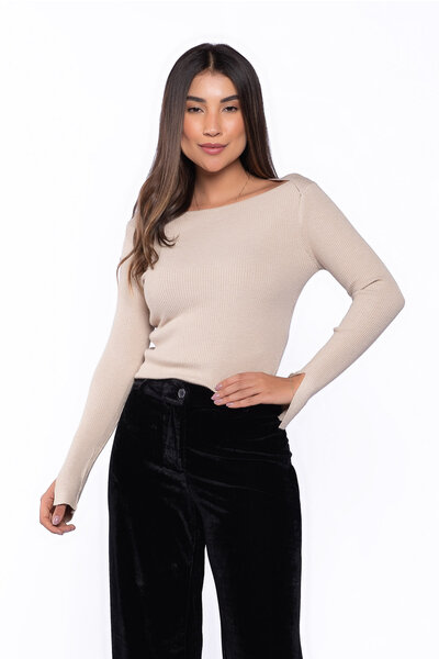 Blusa tricot canelada
