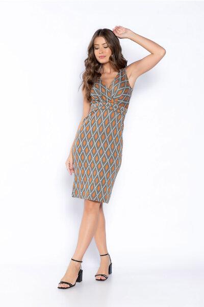 Vestido jacquard estampa geometrica