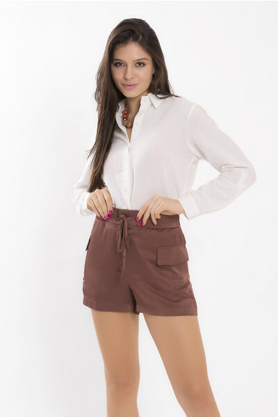 Shorts com elastico no cos em cetim lumina