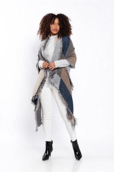 Echarpe tricot estampa geométrica assimétrico