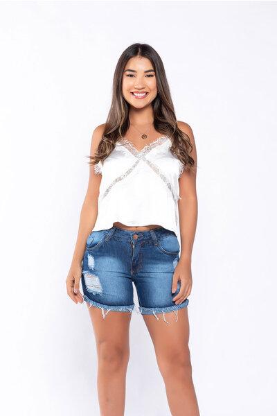 Short jeans barra virada desfiada