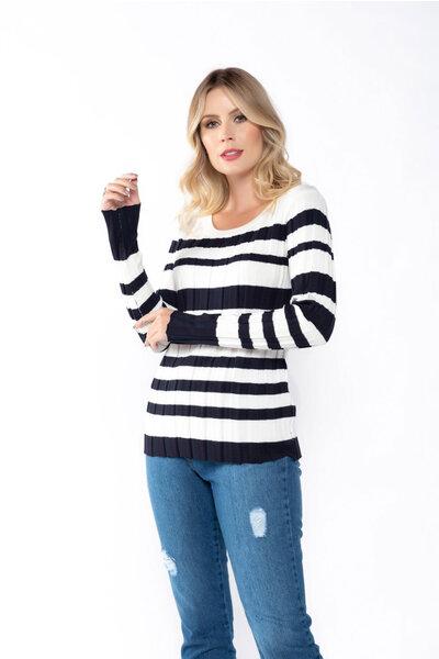 Blusa tricot canelado listras grossas