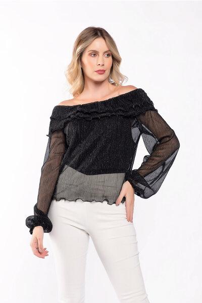 Blusa ombro a ombro lurex
