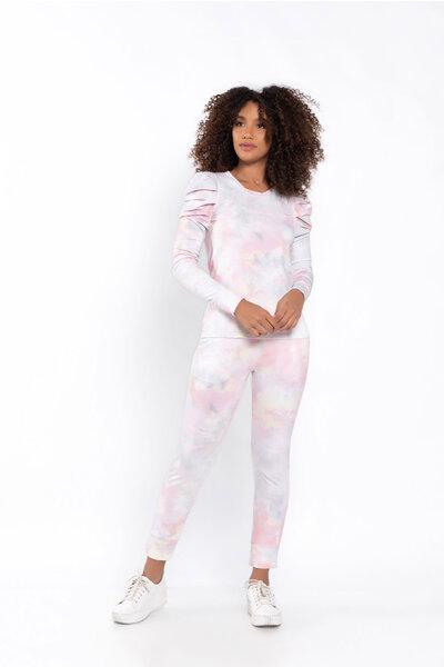Conjunto tie dye blusa manga longa calça jogger