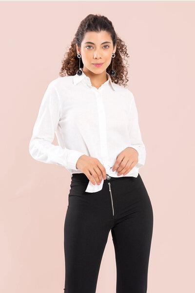 Camisa de linho manga longa com amarracao