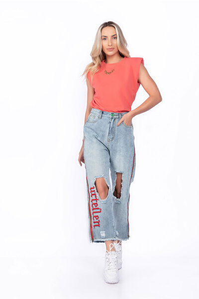 Calça jeans ziper lateral destroyed