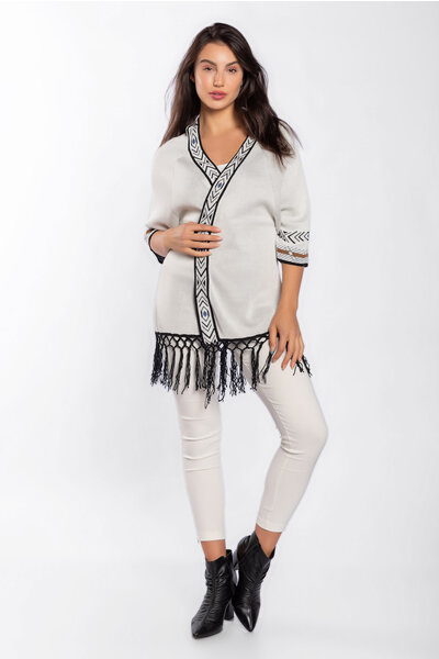 Cardigan tricot com estampa étnica com franja