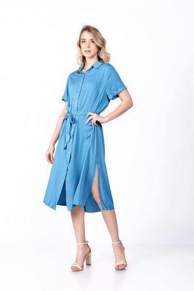 Vestido midi viscose botão fendas laterais