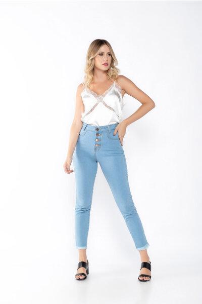 Calça jeans skinny botoes barra desfiada