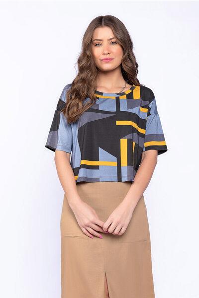 Blusa cropped malha estampada