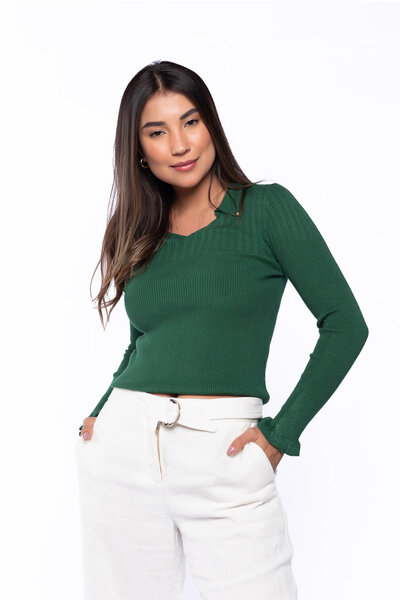 Blusa tricot canelada decote v