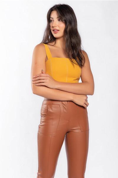 Blusa cropped alca larga com pespontos lastex