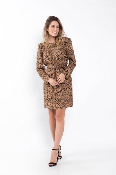 Vestido ombreira animal print elastico na cintura