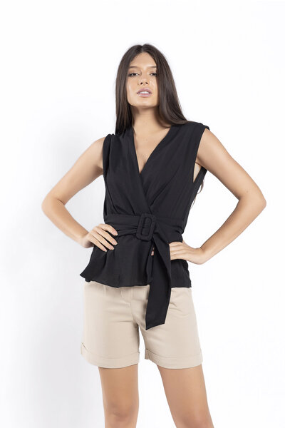 Blusa crepe decote v franzido na cintura