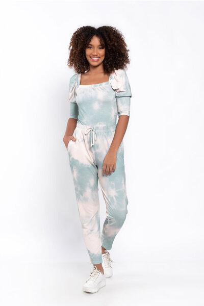 Conjunto tie dye calça blusa cropped manga princesa