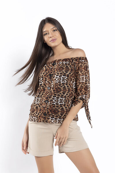 Blusa ciganinha animal print