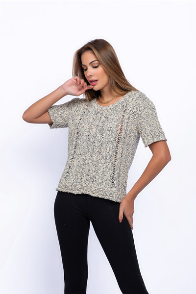 Blusa tricot mesclado manga curta ponto tranca
