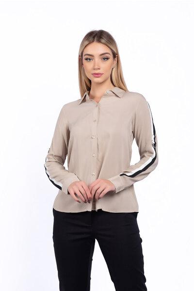 Camisa viscose detalhe bicolor na manga