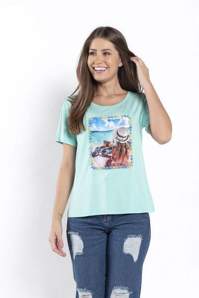 T-shirt estampa praia basica