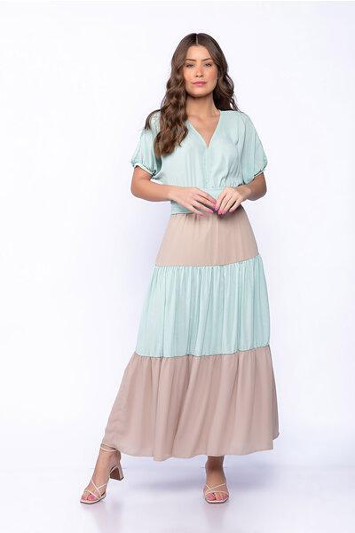 Vestido midi crepe bicolor tres marias