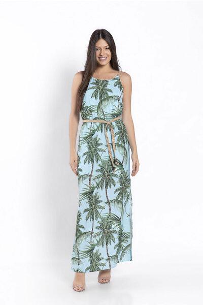Vestido estampa coqueiro com cinto