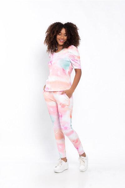 Conjunto moletom tie dye calça e blusa manga princesa