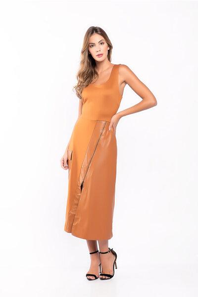 Vestido midi recorte ecológico zipper