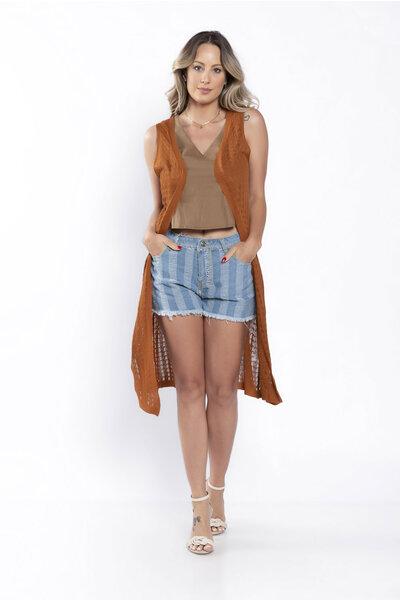 Colete tricot alongado sem manga