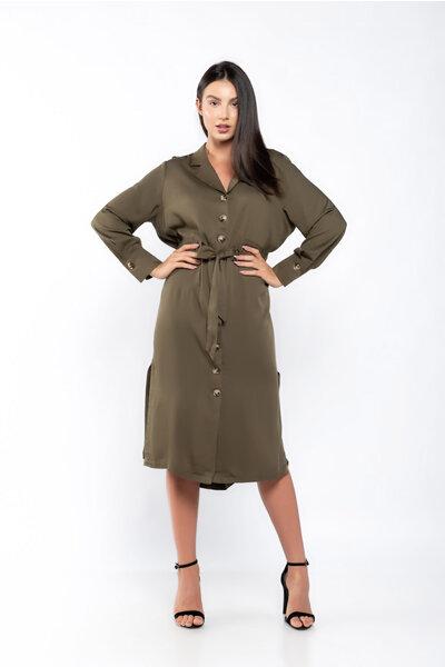 Vestido chemise viscose detalhe cintura com faixa
