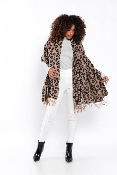 Echarpe tricot estampa animal print