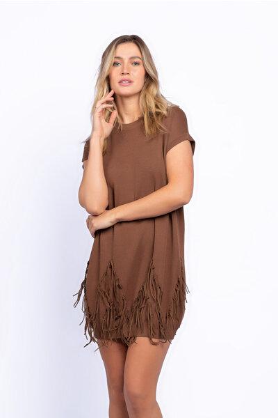 Vestido curto tricot com franja