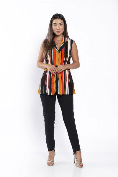 Blusa colete listrada multicolor fechamento botao