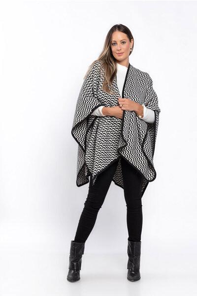 Xale tricot estampa geométrica